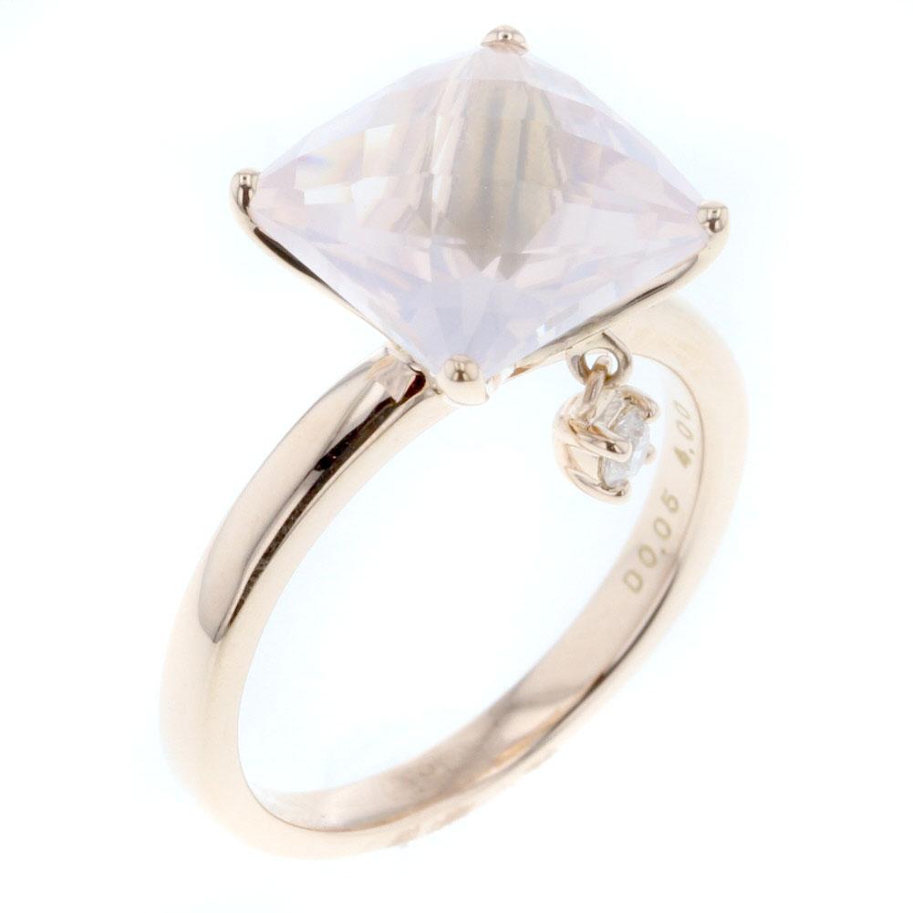ローズクォーツ 4.00ct ダイヤモンド 0.05ct リング 指輪 K18ピンクゴールド 12号 レディース 【中古】 K80505727 【PD3】