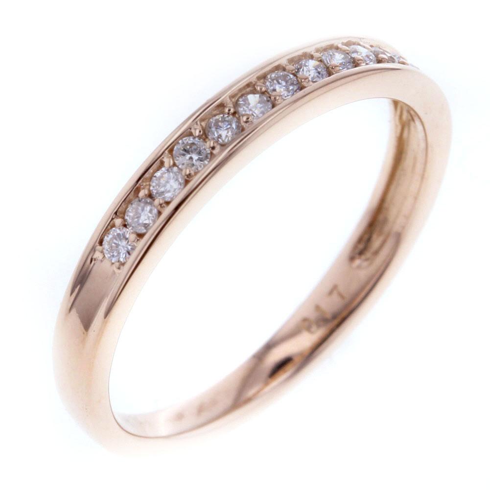 ハーフ エタニティ ダイヤモンド 0.17ct リング 指輪 K18ピンクゴールド 10号 レディース 【中古】 K80512746 【PD3】
