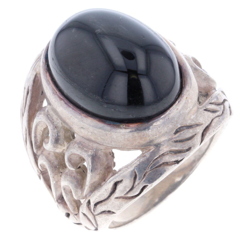 送料無料 お買い得 ギフト 当店一番人気 中古 リサイクル 黒石 2020モデル 1P 葉 リング 17.5号 メンズ デザイン 指輪 R80126033 シルバー925