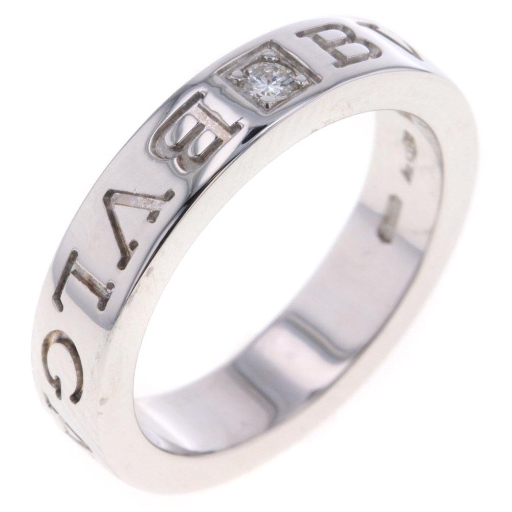 ブルガリ BB ダブルロゴ 1P リング 指輪 K18ホワイトゴールド ダイヤモンド0.05ct 8号 レディース BVLGARI【中古】K80627215