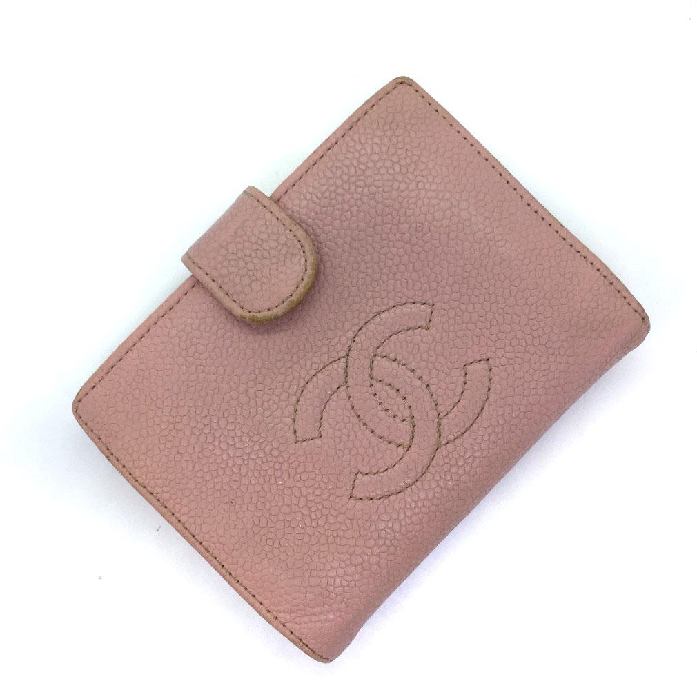 シャネル ココマーク がま口 二つ折り財布 キャビアスキン ピンク ゴールド金具 レディース CHANEL 【中古】K80818743 【PD1】