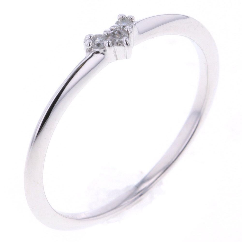アガット ハート ダイヤモンド 0.03ct リング 指輪 K18ホワイトゴールド 9号 レディース agete 【中古】 K80813648