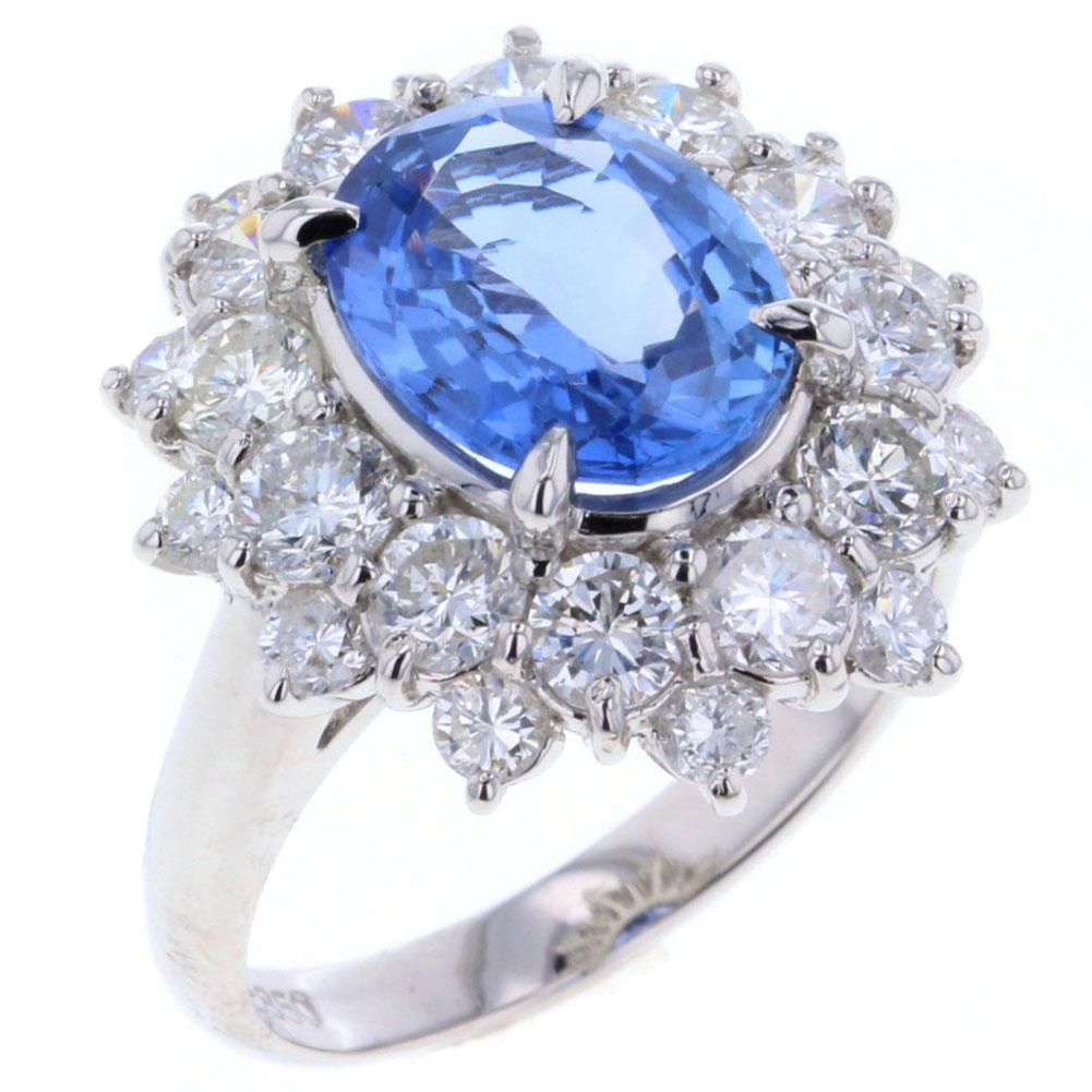 ブルーサファイア 非加熱 ノーヒート 1P 2.93ct ダイヤモンド 2.00ct リング 指輪 プラチナPT850 11号 レディース 【中古】 K80618258