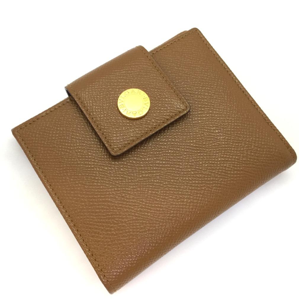 ブルガリ Wホック レザー WALNUT ブラウン 二つ折り財布 レザー ブラウン レディース BVLGARI【中古】K80921074