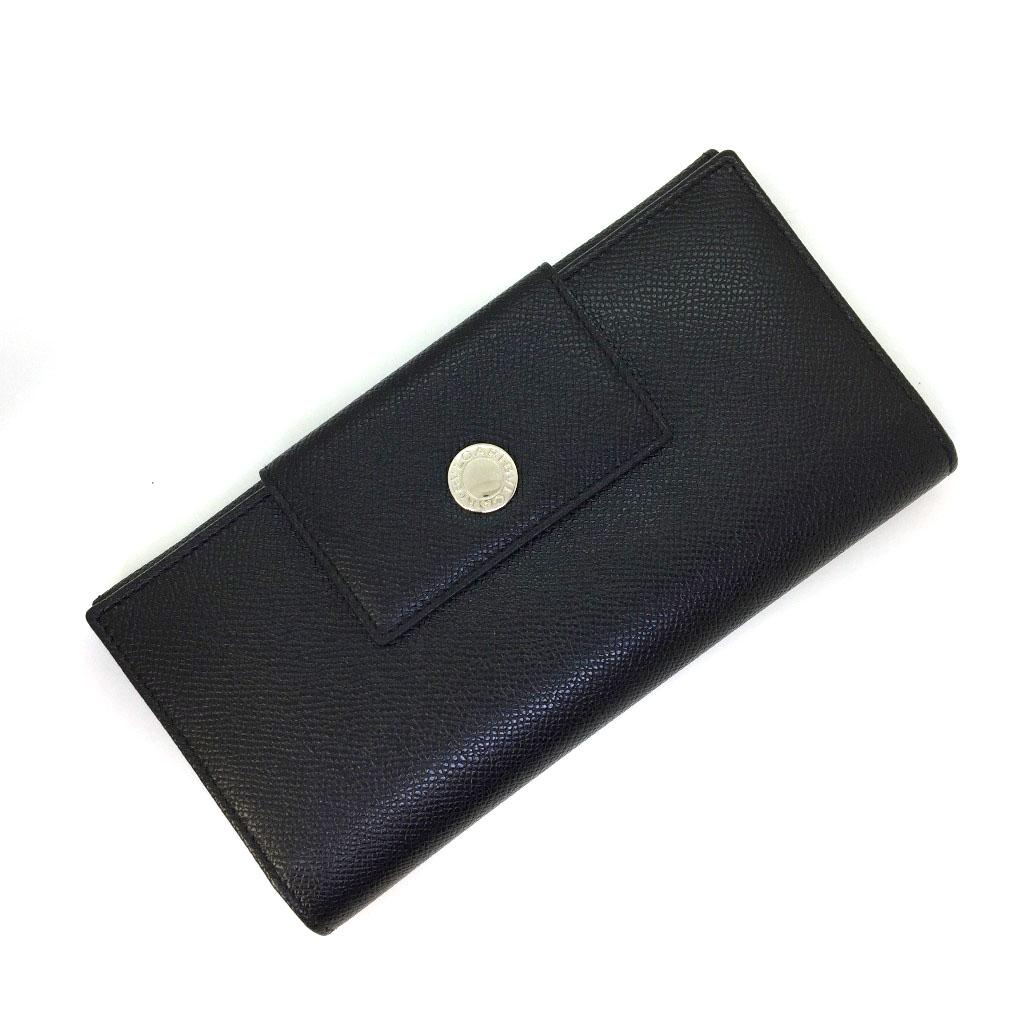 ブルガリ Wホック レザー ブラック 三つ折り財布 22247 レディース BVLGARI 【中古】K80921075