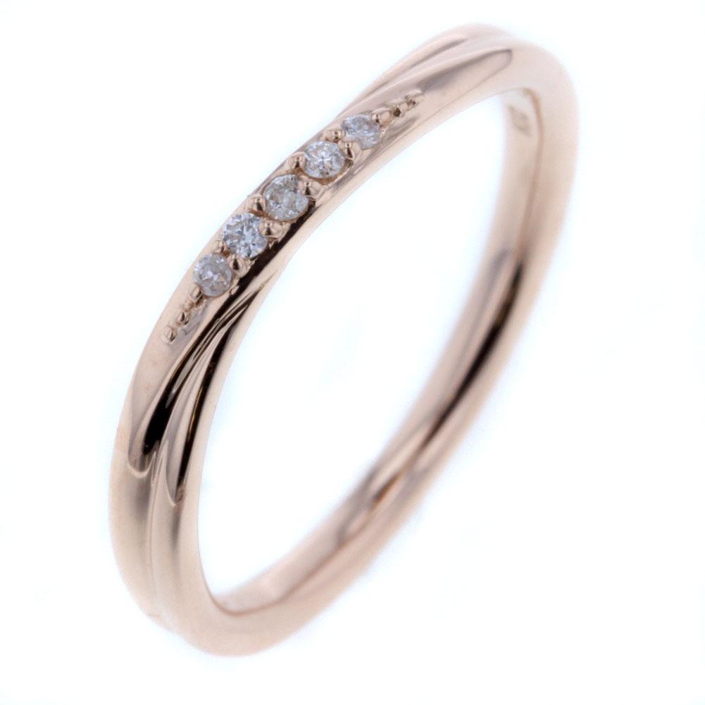 canal 4℃ デザイン リング 指輪 11号 K10ピンクゴールド ダイヤモンド レディース カナルヨンドシー 【中古】K80923888