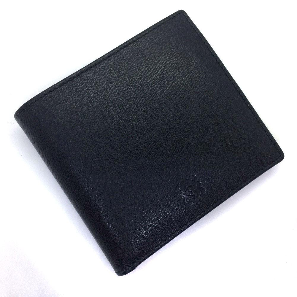 ロエベ コンパクト 二つ折り財布 レザー ブラック メンズ LOEWE 【中古】K81223205