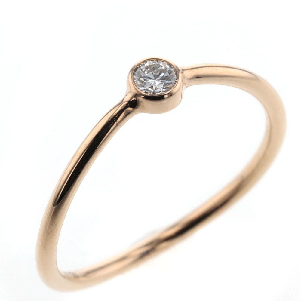 ティファニー ウェーブ シングルロウ ダイヤモンド リング 指輪 K18ピンクゴールド 6号 レディース TIFFANY&Co. 【中古】 K81213994