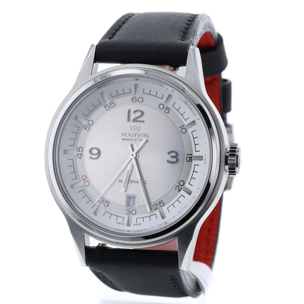 マーヴィン GENT メカニカル 自動巻き シルバー文字盤 腕時計 M102-13 ステンレススチール レザー メンズ MARVIN 【中古】K90223166