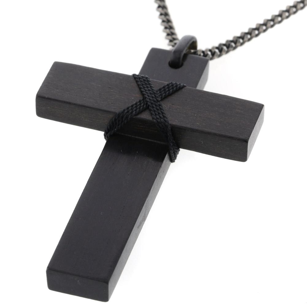 グッチ ネックレス クロス 十字架 ウッド ダークブラウン ユニセックス GUCCI 【中古】 K91123272
