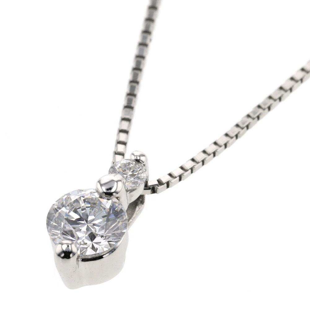 デザイン ネックレス ダイヤモンド 2P 0.305ct 0.04ct プラチナ PT900 PT850 レディース 【中古】K90807219