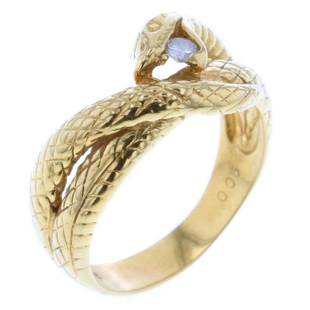 スネーク 蛇 ダイヤモンド 0.06ct ヴィンテージ リング 指輪 K18イエローゴールド 10.5号 レディース 【中古】 K80910793 【PD3】