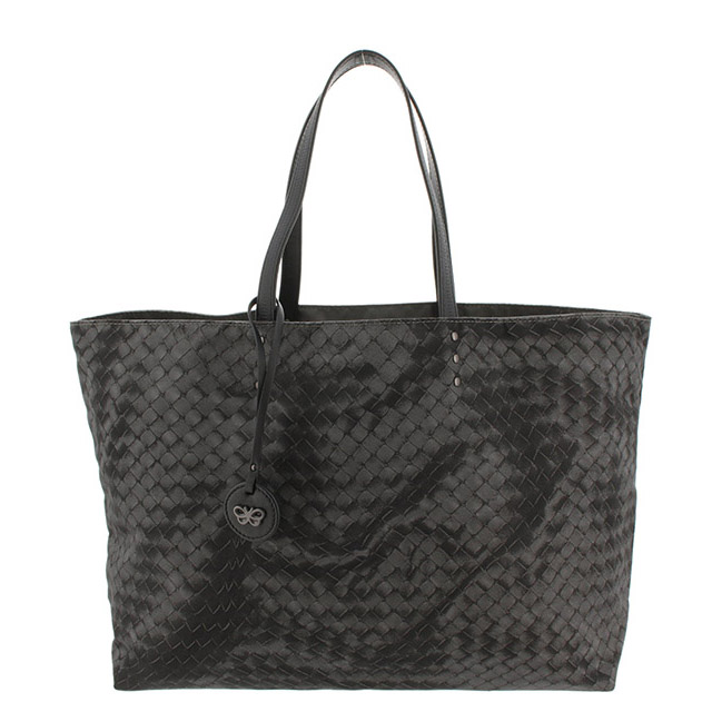 ボッテガヴェネタ イントレッチオリュージョン トートバッグ ナイロン 黒 ブラック/グレー 新品同様 バッグ