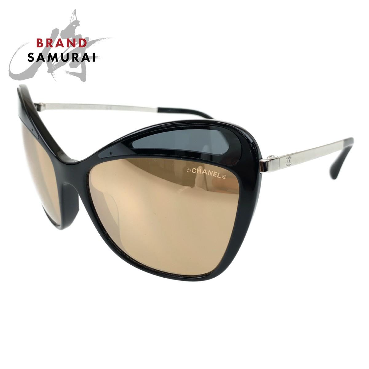 BRAND SAMURAI 美品 CHANEL 限定モデル シャネル ココマーク フォックス レディース 中古 サングラス 情熱セール 5377-A 102742 ブラック ミラーレンズ