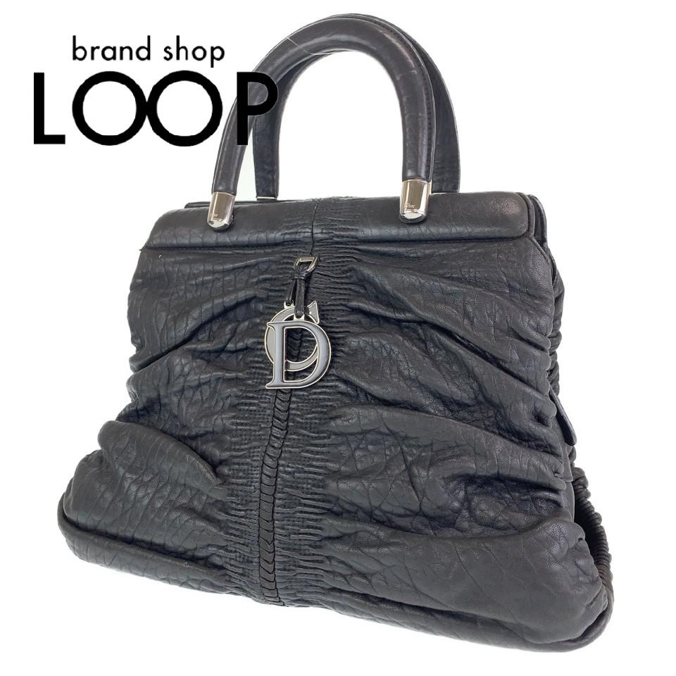 Dior ディオール CDロゴチャーム ブラック 黒色 レザー ハンドバッグ【中古】 レディース 100572