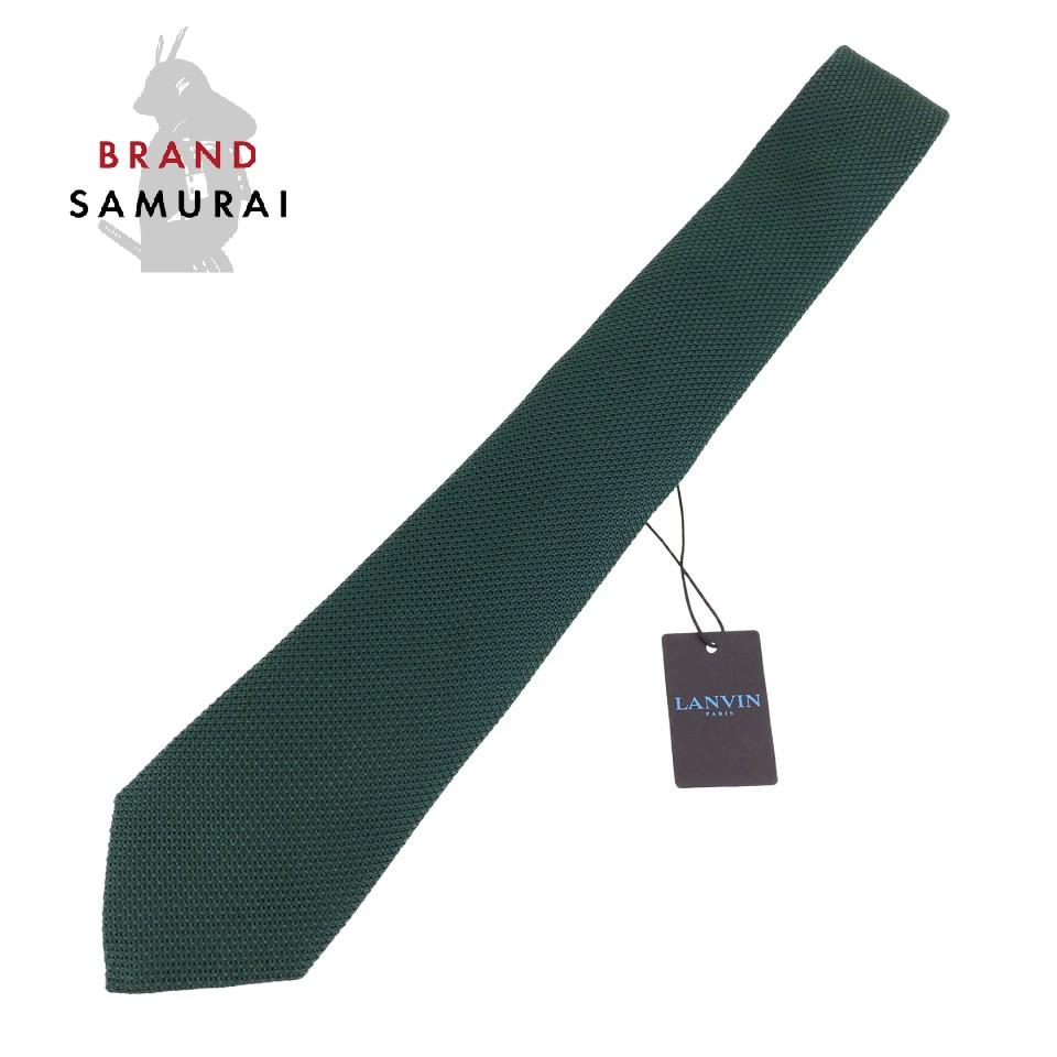 新品未使用 LANVIN ランバン グリーン 無地 シルク 剣先 7.5cm ネクタイ【中古】 メンズ 100183