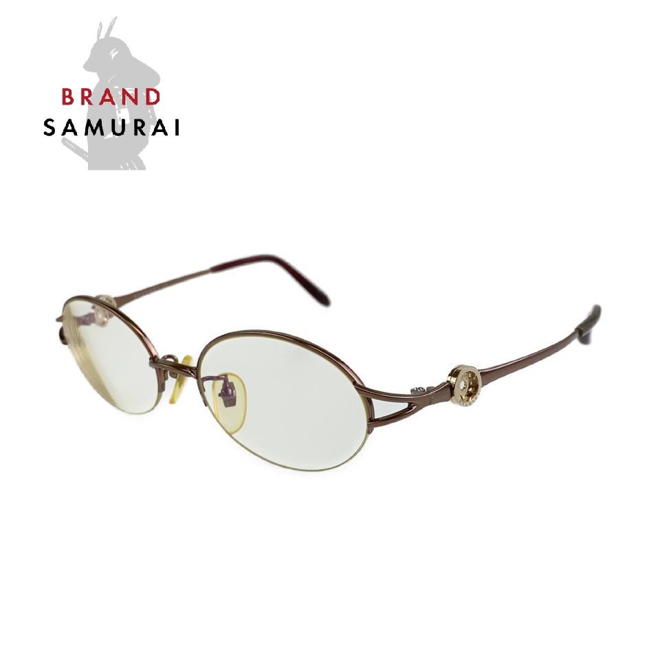 BVLGARI ブルガリ ヴィンテージ トンドサン ゴールド パープル J104004 メガネ 眼鏡 サングラス【中古】 度あり レディース 100686