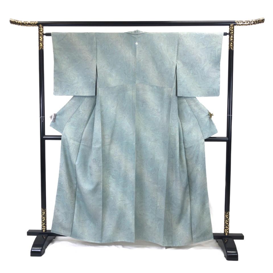 美品 着物 小紋 正絹 袷 グリーン 錆青磁色 シルク 適応身長 149-159cm【中古】 レディース jh-6118