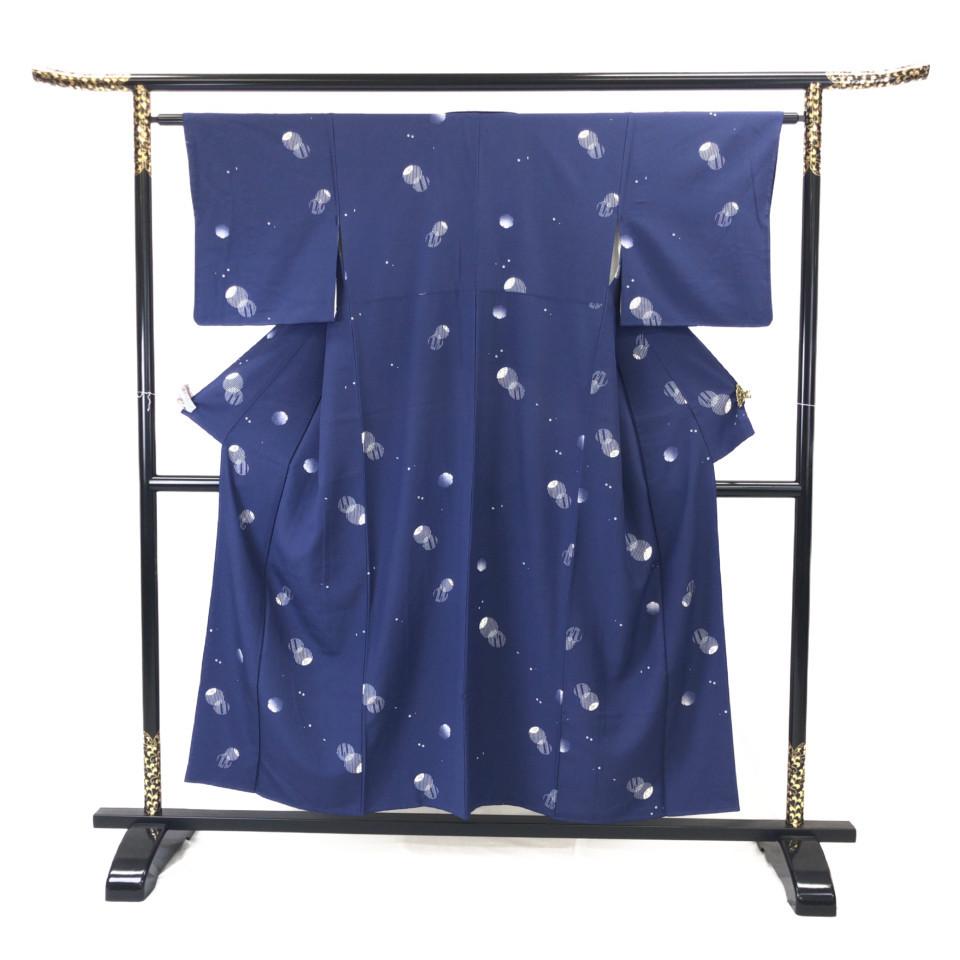 着物 小紋 正絹 袷 ブルー シルク 適応身長 141.5-151.5cm【中古】 レディース jh-6121