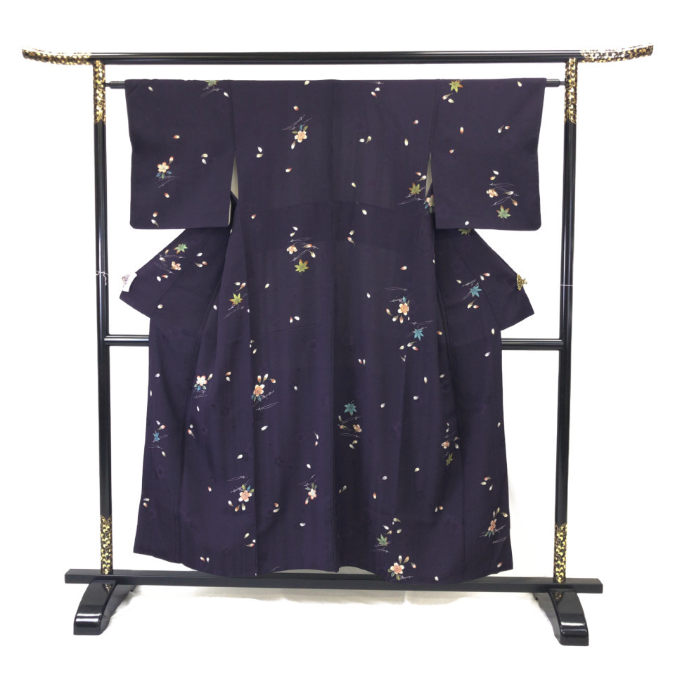 着物 小紋 正絹 袷 ネイビー 紫 パープル シルク 適応身長141.5-151.5 cm【中古】 レディース jh-6122