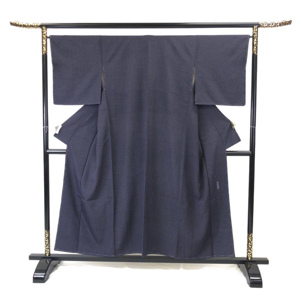 着物 小紋 正絹 袷 ブラック 紫黒 シルク 適応身長142-152 cm【中古】 レディース jh-6123