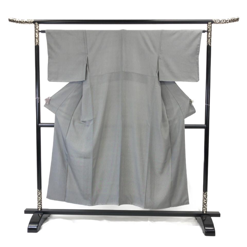 美品 着物 小紋 正絹 袷 グレー 灰色 シルク 適応身長 140-150cm【中古】 レディース jh-6125
