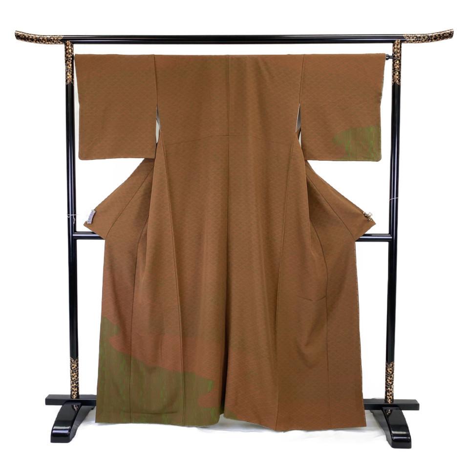 着物 小紋 正絹 袷 ブラウン 茶 緑 グリーン シルク 適応身長157.5-167.5 cm【中古】 レディース jh-6127