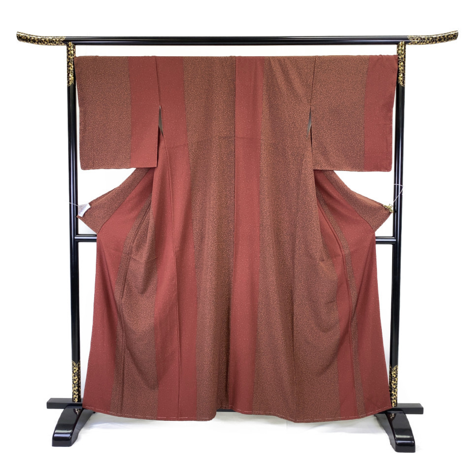 美品 着物 小紋 正絹 袷 レッド 赤茶 レッドブラウン シルク 適応身長 153-163cm【中古】 レディース jh-6128