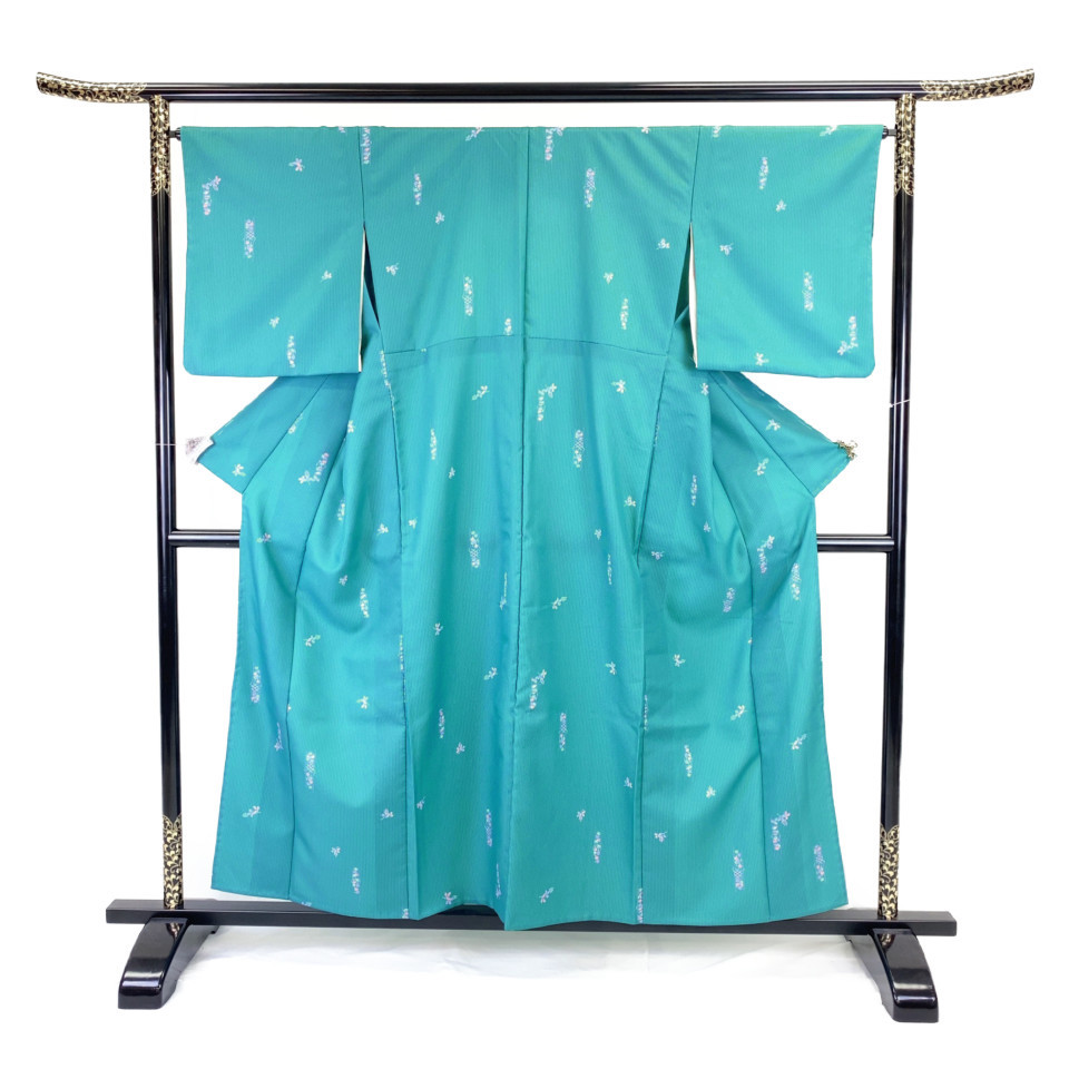 着物 小紋 化繊 単衣 ブルー 納戸色 シルク 適応身長 146-156cm【中古】 レディース jh-6129