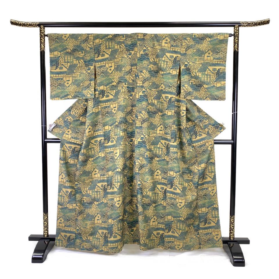 着物 小紋 正絹 袷 グリーン 虫襖×木蘭色 シルク 適応身長 149.5-159.5cm【中古】 レディース jh-6131