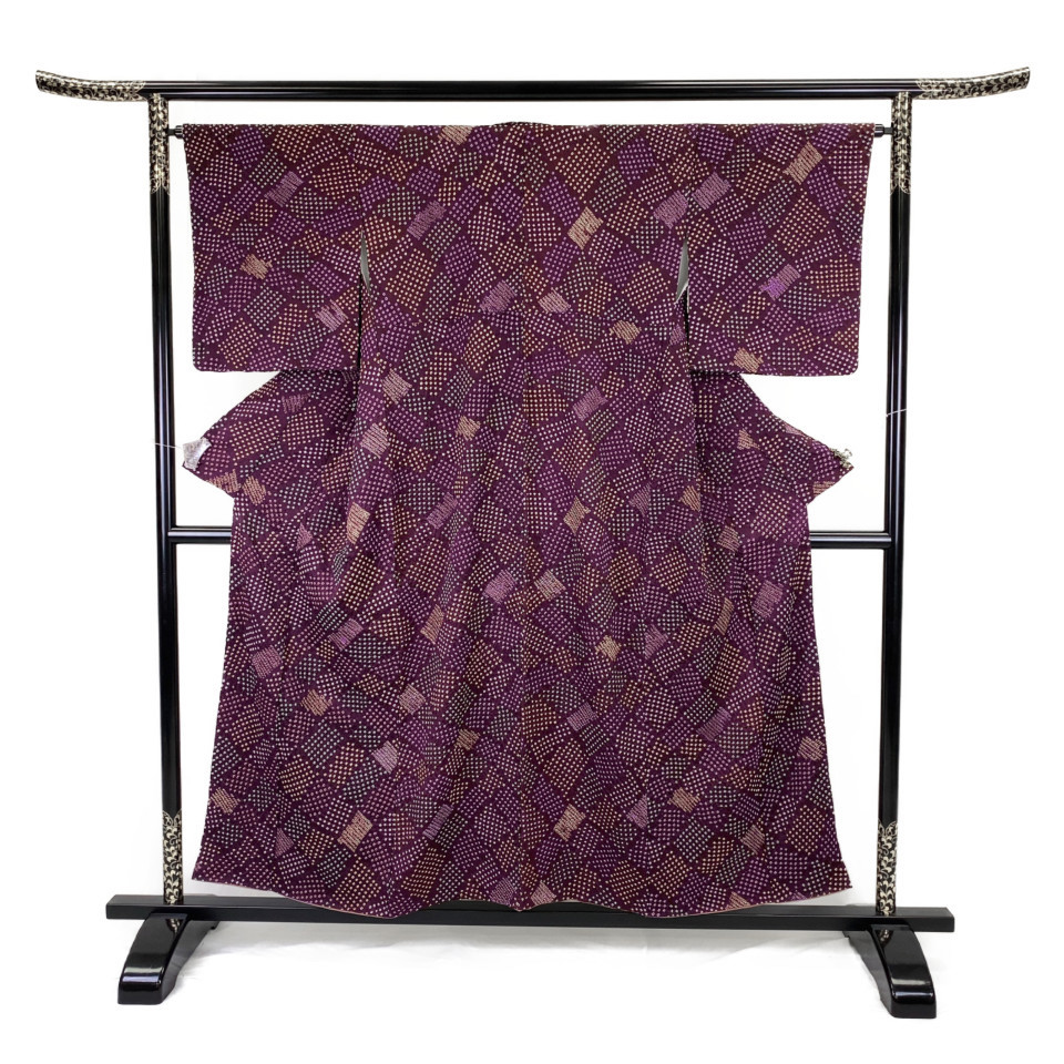 美品 着物 小紋 正絹 袷 パープル 紫鳶 シルク 適応身長 146-156cm【中古】 レディース jh-6132