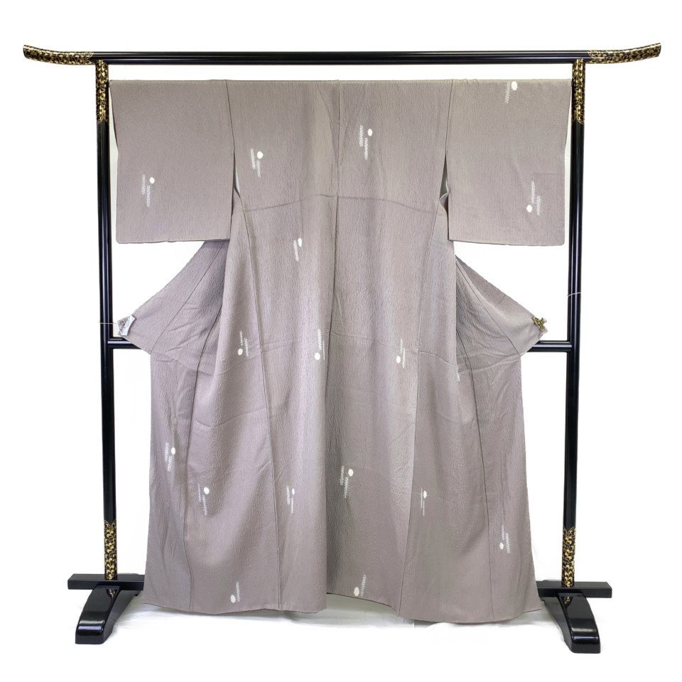 着物 小紋 正絹 袷 グレー 薄色 シルク 適応身長 149.5-159.5cm【中古】 レディース jh-6135