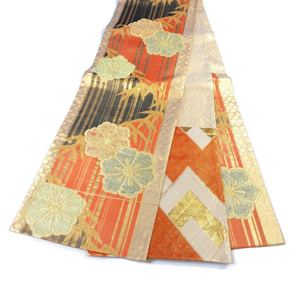 美品 着物 袋帯 正絹 六通 ゴールド オレンジ 黒 シルク 長さ420cm 幅31cm【中古】 レディース jh-6136