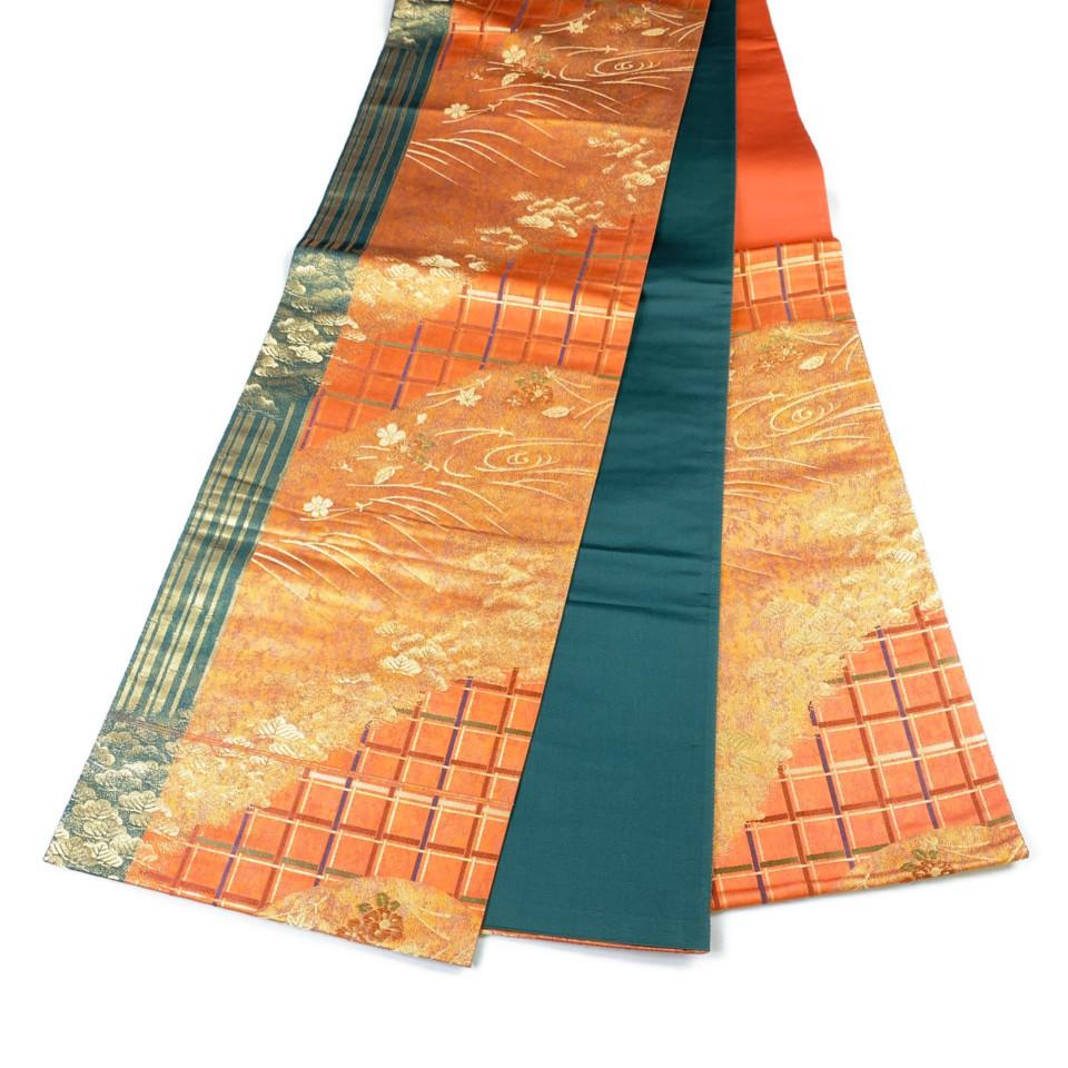 美品 着物 袋帯 正絹 六通 オレンジ 緑 シルク 長さ436cm 幅31cm【中古】 レディース jh-6138