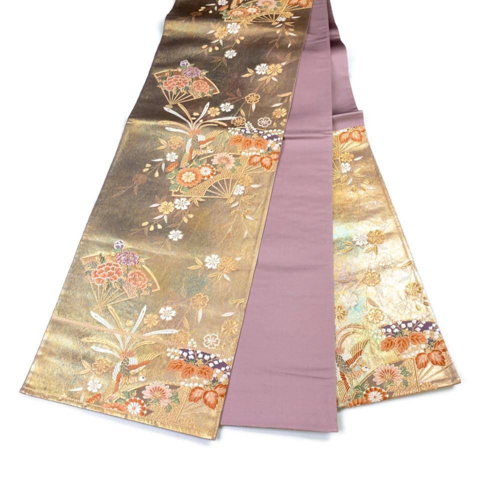 美品 着物 袋帯 正絹 六通 ゴールド 金 紫 シルク 長さ432cm 幅31cm【中古】 レディース jh-6139