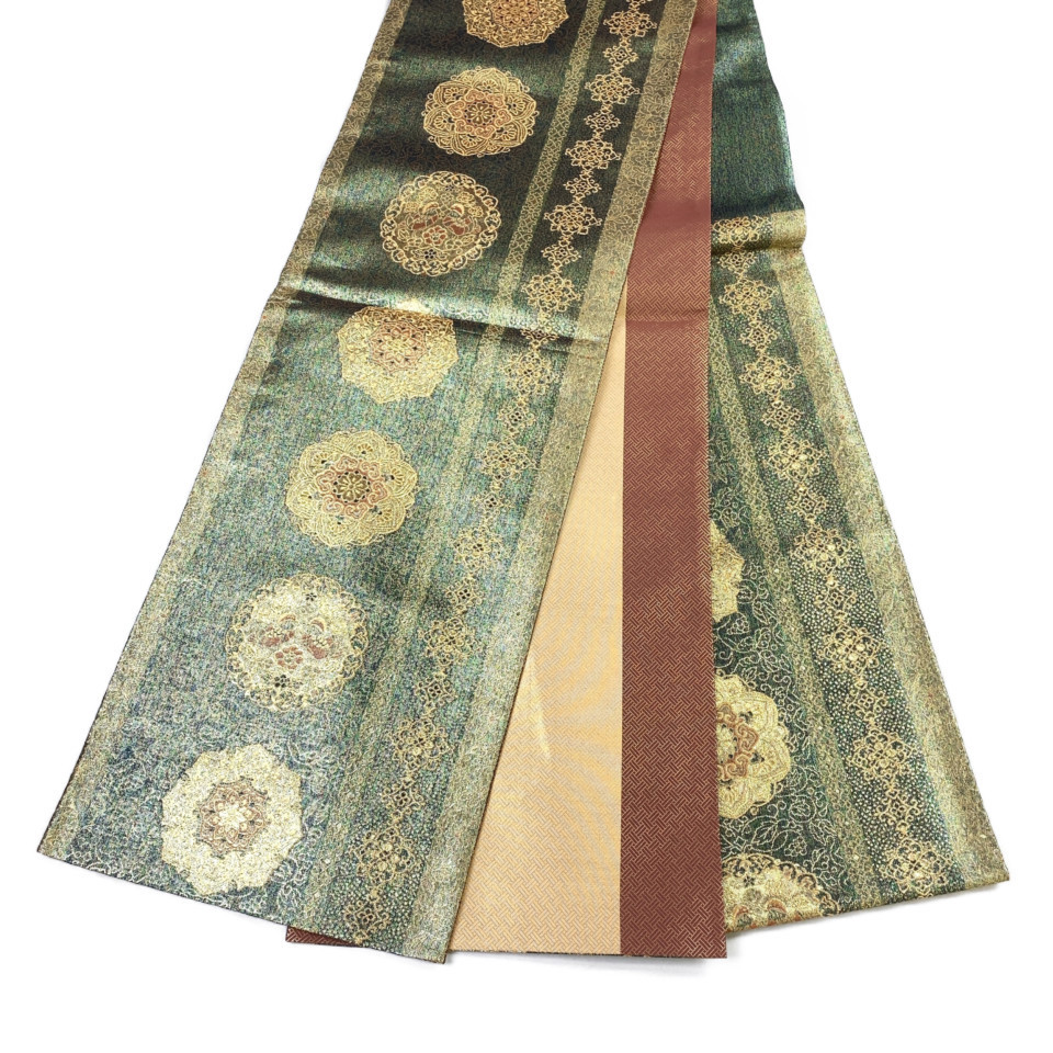 美品 着物 袋帯 正絹 六通 グリーン 金 緑 シルク 長さ448cm 幅31cm【中古】 レディース jh-6140