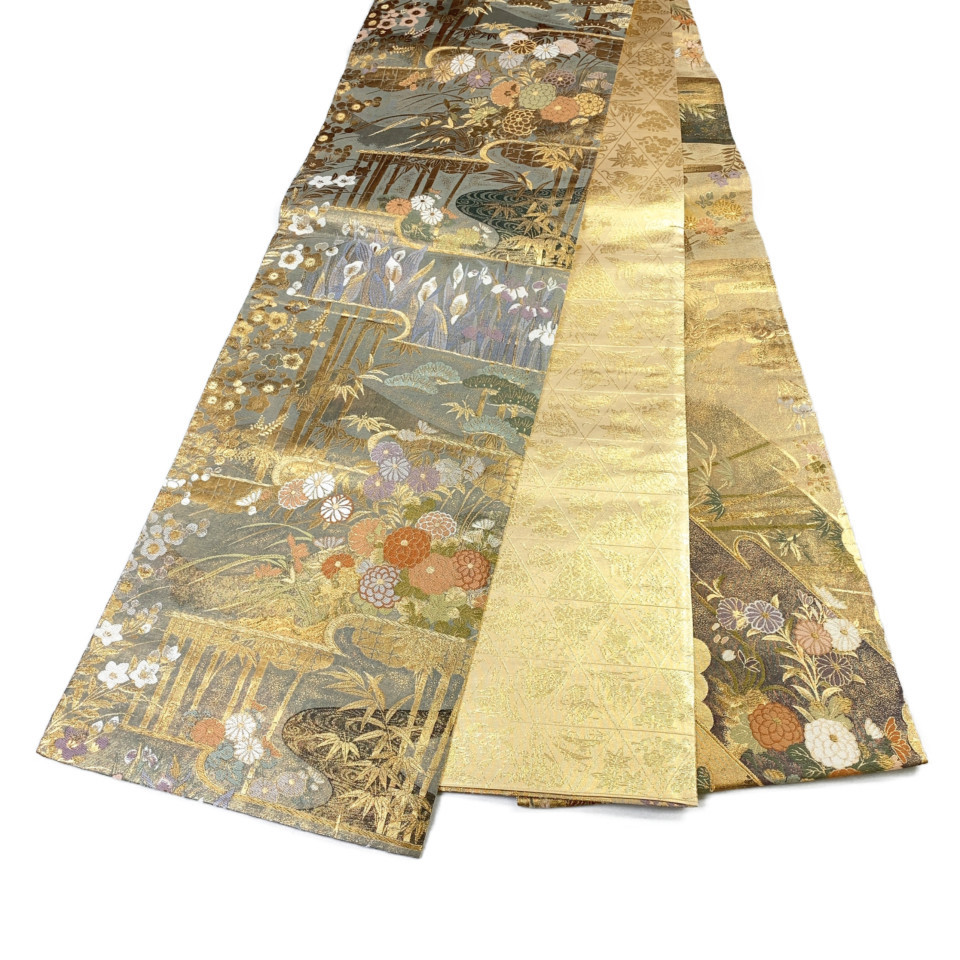 美品 着物 袋帯 正絹 六通 ゴールド グリーン パープル 緑 紫 シルク 長さ452cm 幅31cm【中古】 レディース jh-6141