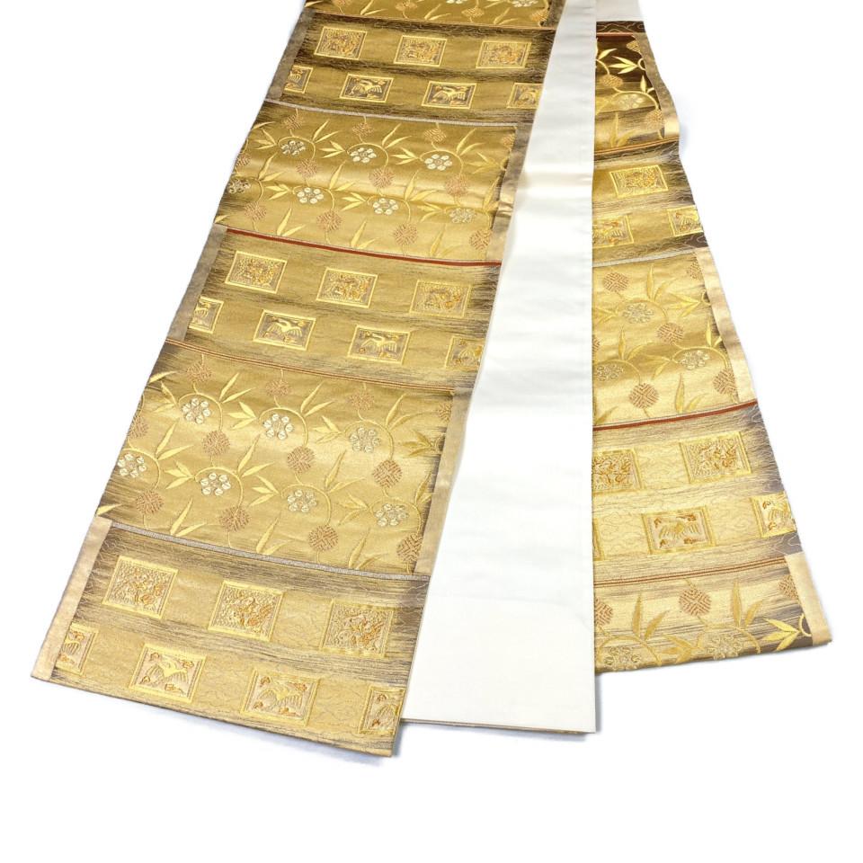 着物 袋帯 正絹 六通 ゴールド オレンジ シルク 長さ444cm 幅31cm【中古】 レディース jh-6142