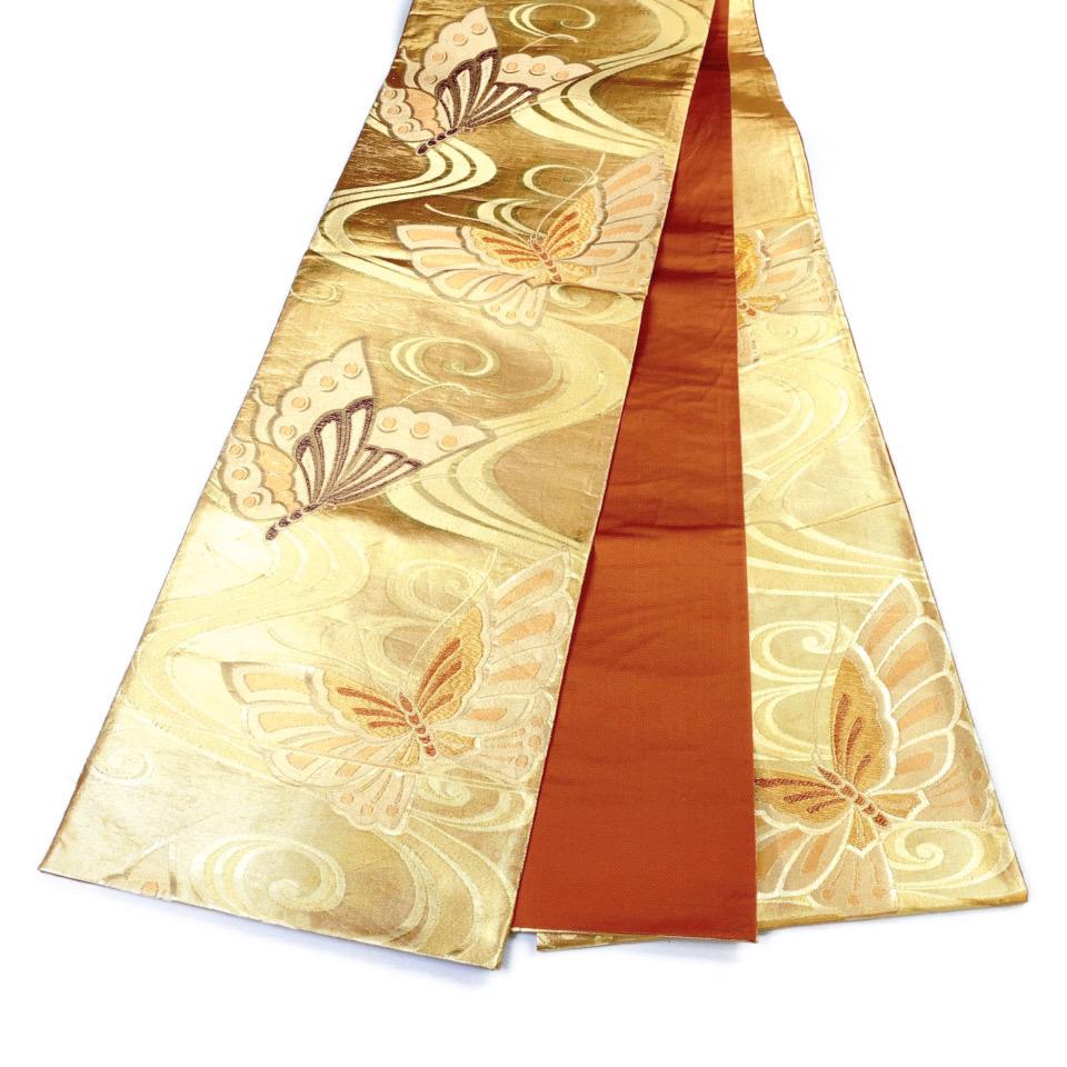 美品 着物 袋帯 正絹 六通 ゴールド シルク 長さ440cm 幅31cm【中古】 レディース jh-6144