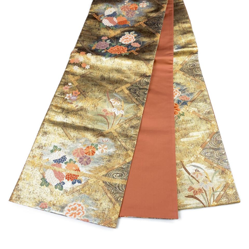 美品 着物 袋帯 正絹 六通 ゴールド 金茶 シルク 長さ436cm 幅31cm【中古】 レディース jh-6145