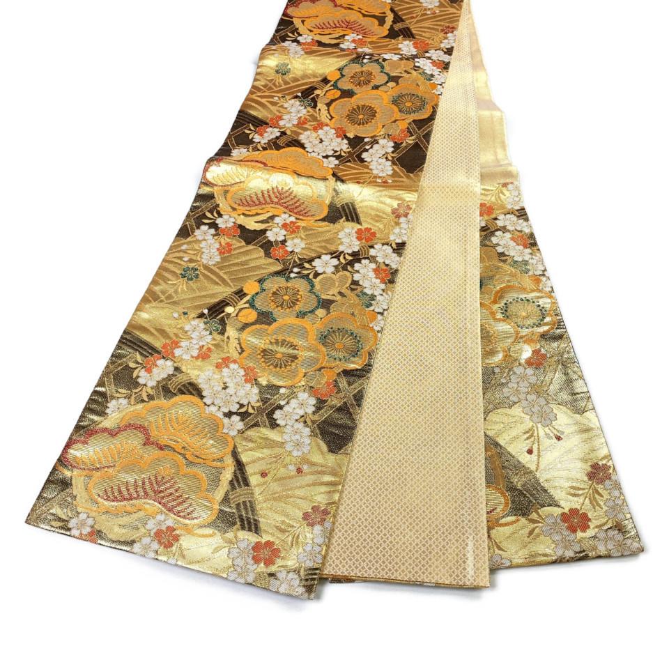美品 着物 袋帯 正絹 六通 ゴールド シルク 長さ432cm 幅31cm【中古】 レディース jh-6146
