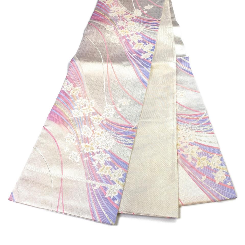 着物 袋帯 正絹 六通 シルバー ピンク シルク 長さ430cm 幅31cm【中古】 レディース jh-6147