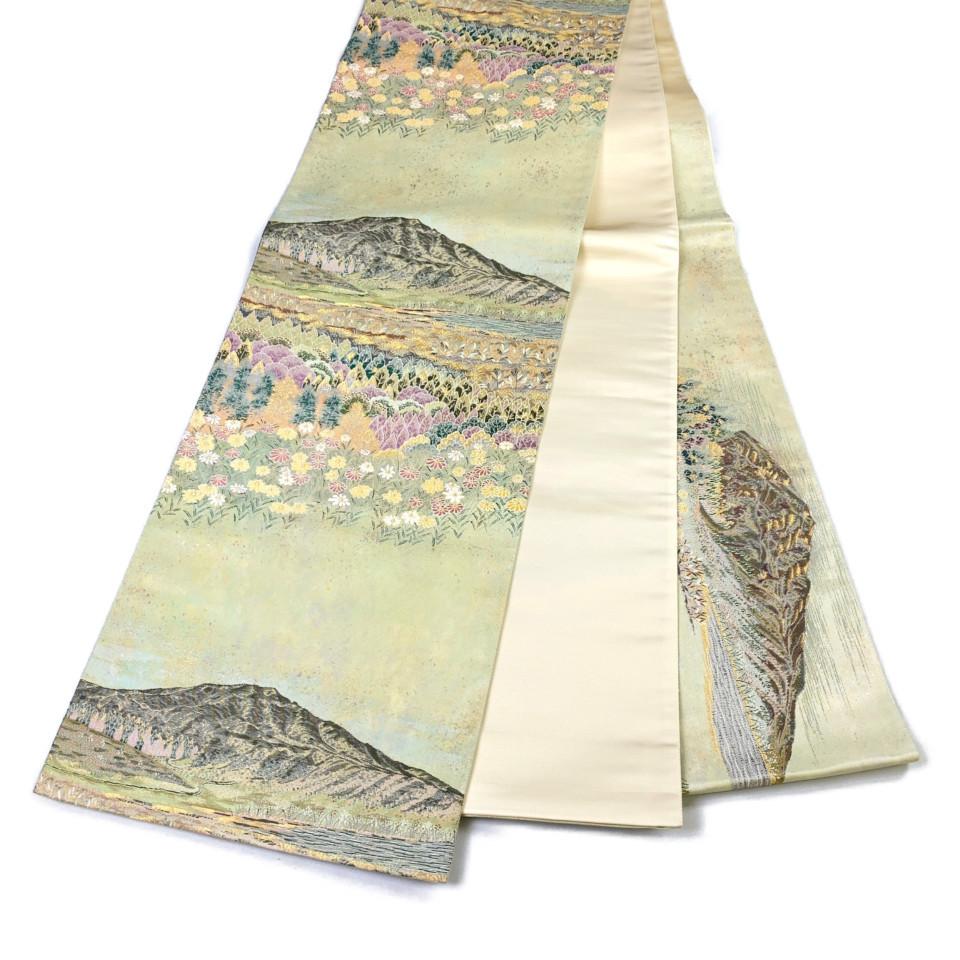 美品 着物 袋帯 正絹 六通 ゴールド 薄柳茶色 シルク 長さ448cm 幅31cm【中古】 レディース jh-6149