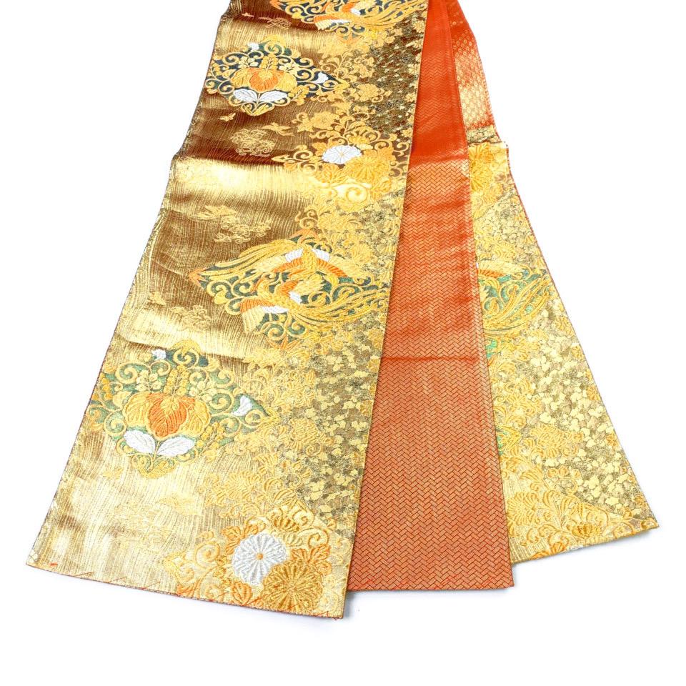 美品 着物 袋帯 正絹 六通 オレンジ ゴールド シルク 長さ434cm 幅31cm【中古】 レディース jh-6150