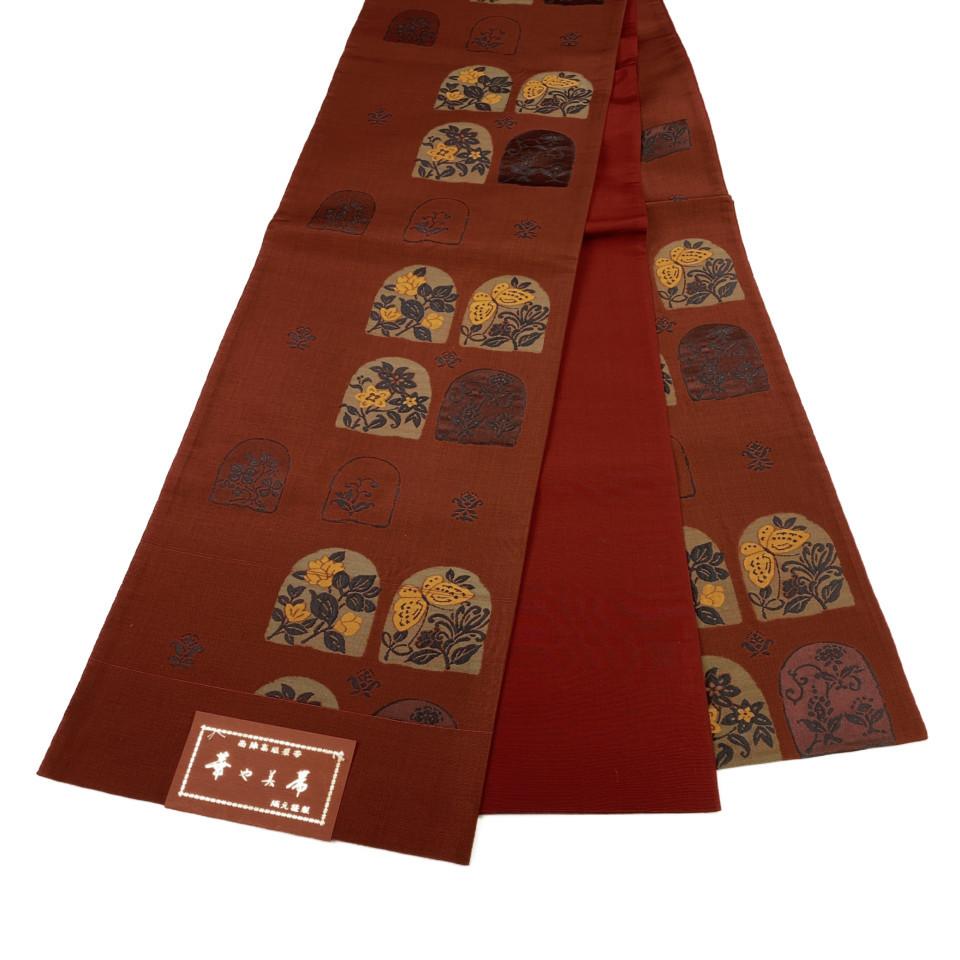 美品 着物 袋帯 正絹 六通 レッド 赤茶 シルク 長さ444cm 幅31cm【中古】 レディース jh-6151