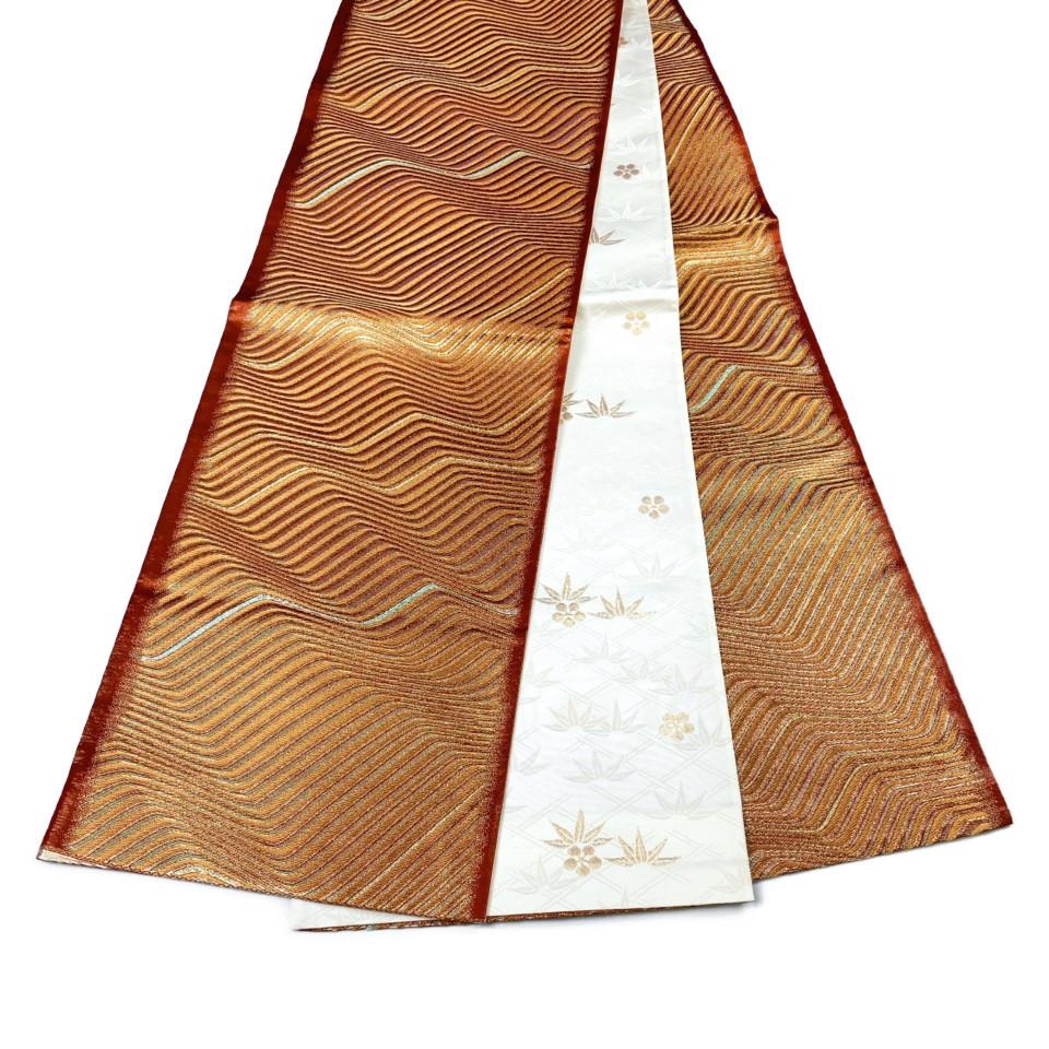 美品 着物 袋帯 正絹 六通  赤茶 ゴールド シルク 長さ442cm 幅31cm【中古】 レディース jh-6153