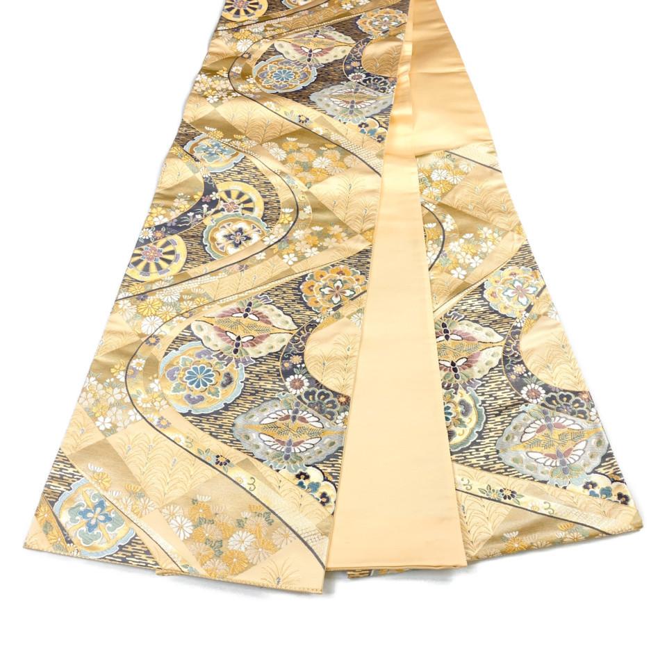 着物 袋帯 正絹 六通 菱取流水華文 ゴールド 薄飴色 シルク 長さ440cm 幅31cm【中古】 レディース jh-6154