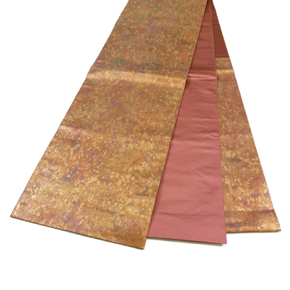 着物 袋帯 正絹 六通 ゴールド 海老茶 シルク 長さ428cm 幅31cm【中古】 レディース jh-6156