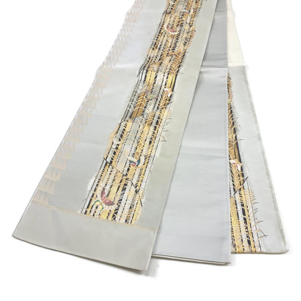 美品 着物 袋帯 正絹 六通 未仕立て シルバー グレー シルク 長さ460cm 幅31cm【中古】 レディース jh-6157