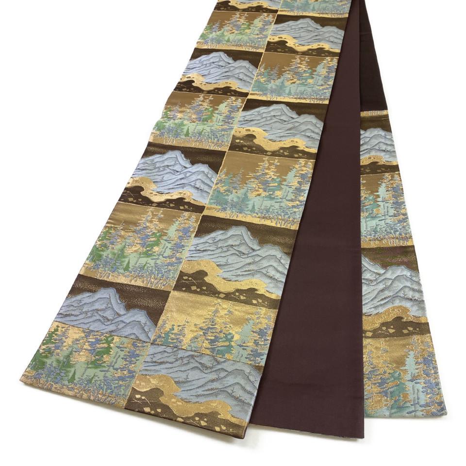 美品 着物 袋帯 正絹 六通 ゴールド ブラウン シルク 長さ428cm 幅31cm【中古】 レディース jh-6158